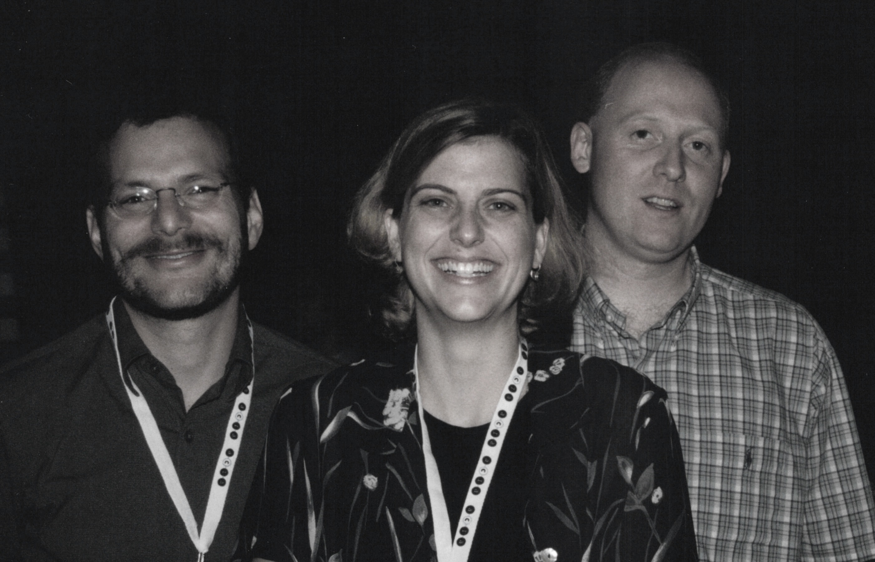 Lou Rosenfeld (left) and Peter Morville (right) in 2000, with Samantha Bailey, then Vice President of Consulting Operations at Argus Associates. Photo courtesy of P. Morville.